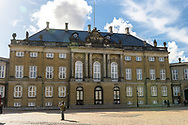 A full composition photograph of Amalienborg Palace, showing the full front of the building, in Copenhagen.