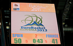 Logo presentation of Eurobasket Slovenia 2013 during final basketball game between National basketball teams of Spain and France at FIBA Europe Eurobasket Lithuania 2011, on September 18, 2011, in Arena Zalgirio, Kaunas, Lithuania. (Photo by Vid Ponikvar / Sportida)