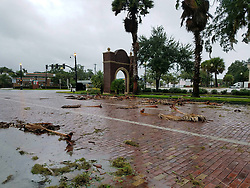 October 7, 2016 - Sanford, Florida, U.S. - Debris from Hurricane Matthew covers the street in Sanford. Hurricane Matthew lashes Florida With 100 MPH Winds, 1 Dead as 600,000 without power. (Credit Image: © Kayla O'Brien/TNS via ZUMA Wire)