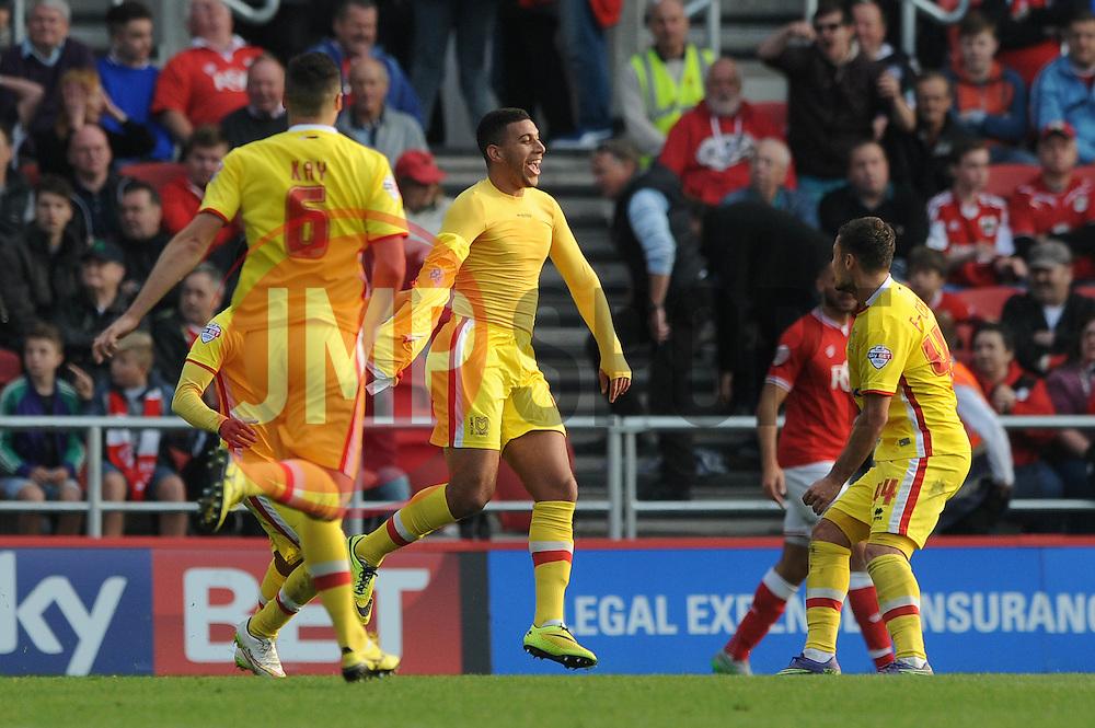 Daniel Powell of Milton Keynes Dons celebrates as he equalises late in the game - Mandatory byline: Dougie Allward/JMP - 07966 386802 - 03/10/2015 - FOOTBALL - Ashton Gate - Bristol, England - Bristol City v MK Dons - Sky Bet Championship