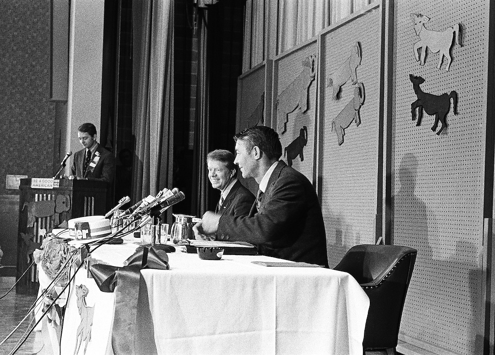 1970 Georgia gubernatorial debate between Jimmy Carter and Hal Suit in October 1970 in an elementary school auditorium in Atlanta, Georgia. - To license this image, click on the shopping cart below -