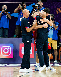 Boban Marjanovic of Serbia and Sasha Aleksandar Djordjevic, head coach of Serbia celebrate after winning during basketball match between National Teams of Russia and Serbia at Day 16 in Semifinal of the FIBA EuroBasket 2017 at Sinan Erdem Dome in Istanbul, Turkey on September 15, 2017. Photo by Vid Ponikvar / Sportida