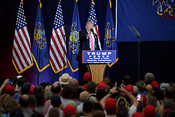 After being delayed by weather Republican presidential candidate DONALD TRUMP rallies in Mannheim, Lancaster County, PA , on October 1, 2016.