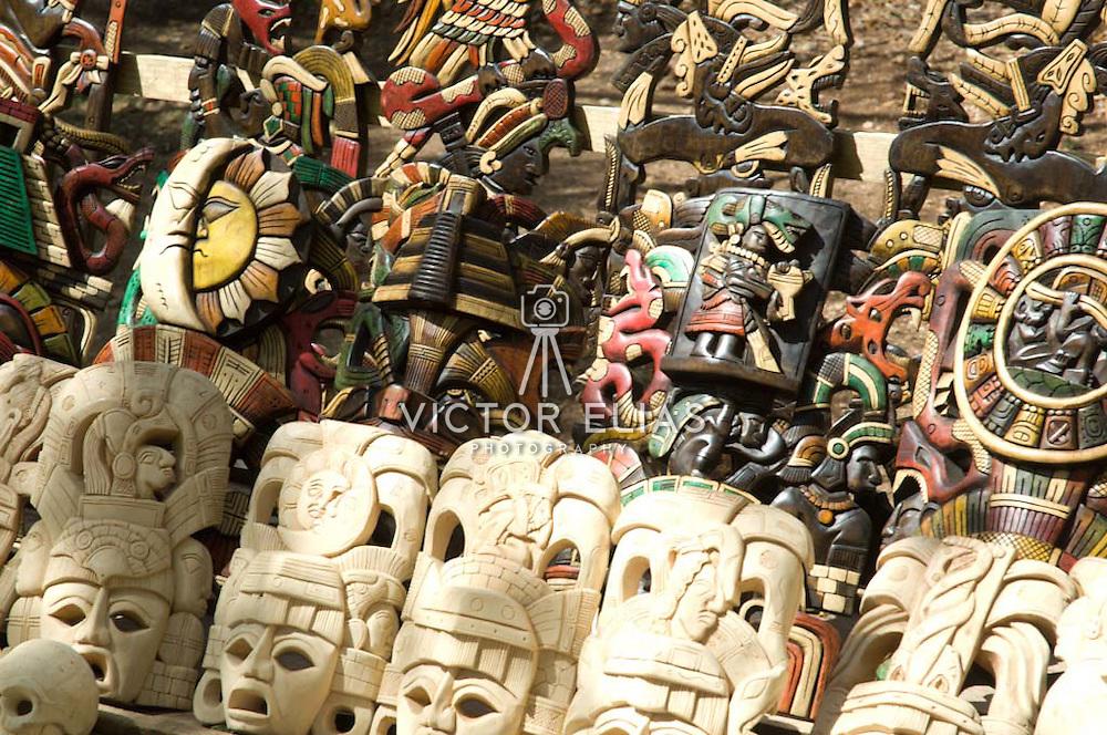 Handcrafts market in Chichen Itza. Yucatan, Mexico.