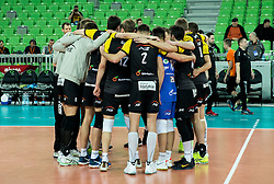 Players of Belchatow celebrate after winning during volleyball match between ACH Volley (SLO) and PGE Skra Belchatow (POL) in Round #4 of 2017 CEV Volleyball Champions League, on January 19, 2017 in Arena Stozice, Ljubljana, Slovenia. Photo by Vid Ponikvar / Sportida