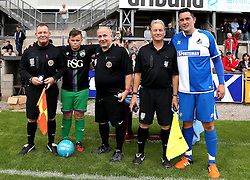 The Referee and Linesmen are presented with medals after the Bristol Fan Derby - Mandatory by-line: Robbie Stephenson/JMP - 04/09/2016 - FOOTBALL - Memorial Stadium - Bristol, England - Bristol Rovers Fans v Bristol City Fans - Bristol Fan Derby