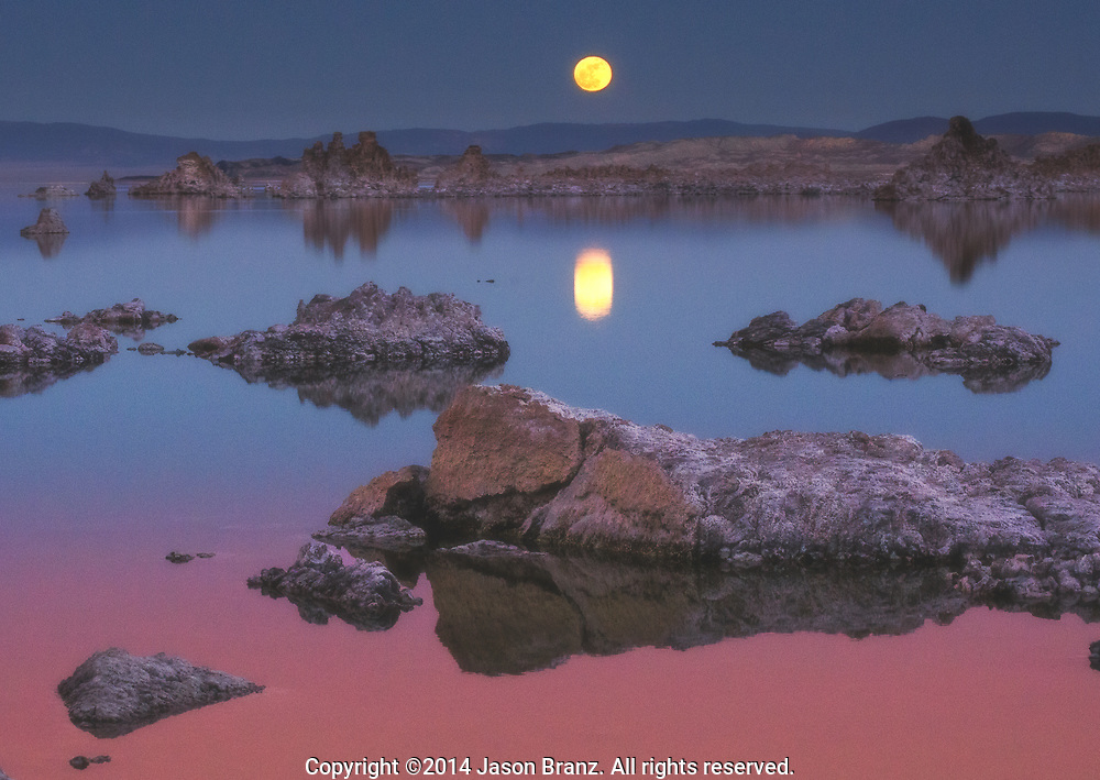 The full moon rising over Mono Lake, California.