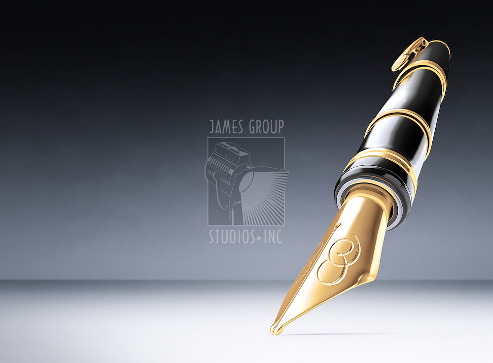 A luxury fountain pen from a fish-eye looking up on a white background. Includes clipping path!!