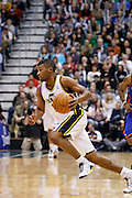 Jazz guard Ronnie Price heads down the court during an NBA basketball game in Salt Lake City, Wednesday Jan. 12, 2011. (AP Photo/Colin E Braley)