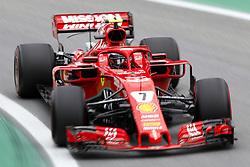 "November 9, 2018 - SãO Paulo, Brazil - SÃO PAULO, SP - 09.11.2018: GRANDE PRÊMIO DO BRASIL DE FÃ""RMULA 1 2018 - Kimi Räikkönen (RAIKKONEN), FIN, Team Scuderia Ferrari, during the first free practice for the 2018 Formula 1 Brazilian Grand Prix, held at the Autodromo de Interlagos, in São Paulo, SP. (Credit Image: © Rodolfo Buhrer/Fotoarena via ZUMA Press)"