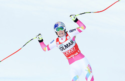 18-01-2015 AUT: Alpine Skiing World Cup, Cortina d Ampezzo<br /> 1st placed Lindsey Vonn of the USA reacts after her run of the ladies Downhill of the Cortina FIS Ski Alpine World Cup at the Olympia delle Tofane course in Cortina d Ampezzo, Italy <br /> <br /> ***NETHERLANDS ONLY***