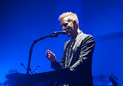 © Licensed to London News Pictures. 03/09/2016. Bristol, UK. ROBERT DEL NAJA of MASSIVE ATTACK plays on the main stage at the Massive Attack music event on Bristol Downs. Photo credit : Simon Chapman/LNP