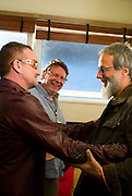 Yusuf Islam (Cat Stevens) with Bono (U2) backstage Island 50 concerts Hammersmith Empire - London 2009