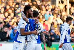 Ellis Harrison of Bristol Rovers celebrates with Dom Telford after scoring a goal to make it 1-1 - Rogan/JMP - 24/02/2018 - FOOTBALL - Memorial Stadium - Bristol, England - Bristol Rovers v Scunthorpe United - EFL Sky Bet League One.