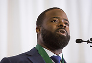 Kalvin McRae gives a speech after getting accepted into The Kermit Blosser Ohio Athletics Hall of Fame at the Alumni Awards Gala on October 6, 2017.