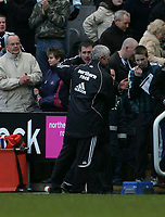 Photo: Andrew Unwin.<br />Newcastle United v Bolton Wanderers. The Barclays Premiership. 04/03/2006.<br />Newcastle's Glenn Roeder (L) celebrates with Terry McDermott (R) at the end of the game.