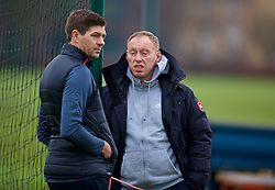 WOLVERHAMPTON, ENGLAND - Tuesday, December 19, 2017: England's Under-17 manager Steve Cooper chats with Liverpool's Under-18 manager Steven Gerrard before an Under-18 FA Premier League match between Wolverhampton Wanderers and Liverpool FC at the Sir Jack Hayward Training Ground. (Pic by David Rawcliffe/Propaganda)