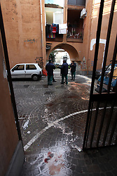 January 3, 2018 - Italy, Naples, January 3, 2018 early in the morning to scampia in the neighborhood of gomorrah there was an ambush to the dani of a space wounded in the legs with two bullets caliber 38 by two strangers, transported to the hospital by the ambulance is not in danger of life but a foot was amputated. (Credit Image: © Fabio Sasso via ZUMA Wire)