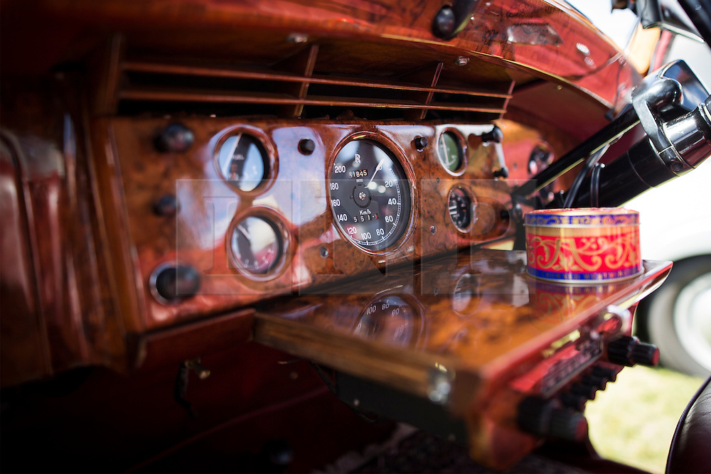 © Licensed to London News Pictures. 07/08/2016. Leeds UK. Picture shows the dashboard of a 1953 4.5 Ltr Rolls Royce Silver Dawn at the 37th Rolls Royce North rally that has taken place this weekend in the ground's of Harewood House in Yorkshire. The event bring's together some of the UK's most prized motor cars & their proud owners. Photo credit: Andrew McCaren/LNP