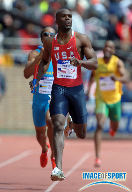 Apr 28, 2012; Philadelphia, PA, USA; LaShawn Merritt runs the anchor leg on the USA Red 4 x 400m relay that won in 3:00.19 in the USA vs The World race in the 118th Penn Relays at Franklin Field.