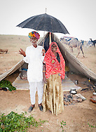 Laughing and happy senior Indian married couple shelter under an umbrella outside there tent at Pushkar Fair where they have travelled to trade their livestock.