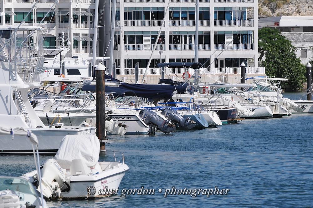 Pleasure boats moored in Hamilton harbor, Bermuda on Friday, September 21, 2012.