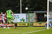 Forest Green Rovers Matty Stevens(9) heads the ball scores a goal 1-1  during the EFL Trophy match between Forest Green Rovers and U21 Southampton at the New Lawn, Forest Green, United Kingdom on 3 September 2019.