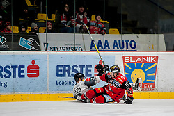 08.01.2017, Ice Rink, Znojmo, CZE, EBEL, HC Orli Znojmo vs Dornbirner Eishockey Club, 41. Runde, im Bild v.l. Olivier Magnan (Dornbirner) Adam Hughesman (HC Orli Znojmo) // during the Erste Bank Icehockey League 41th round match between HC Orli Znojmo and Dornbirner Eishockey Club at the Ice Rink in Znojmo, Czech Republic on 2017/01/08. EXPA Pictures © 2017, PhotoCredit: EXPA/ Rostislav Pfeffer