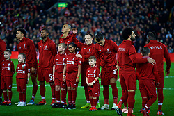 LIVERPOOL, ENGLAND - Saturday, December 29, 2018: Liverpool's Sheridan Shaqiri with mascots before the FA Premier League match between Liverpool FC and Arsenal FC at Anfield. (Pic by David Rawcliffe/Propaganda)