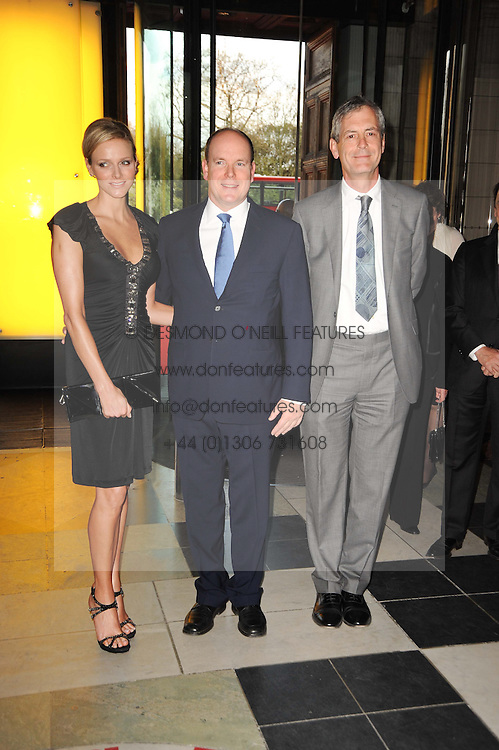 Left to right, CHARLENE WITTSTOCK,  His Serene Highness PRINCE ALBERT OF MONACO and MARK JONES Director of the V&A at the opening of the Victoria & Albert Museum's latest exhibition 'Grace Kelly: Style Icon' opened by His Serene Highness Prince Albert of Monaco at the V&A on 15th April 2010.