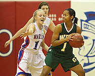 Washington's Brooke Foreman (10) eyes the ball as West's Shahana Williams (1) looks to pass during the girl's high school basketball game between Iowa City West and Cedar Rapids Washington at Washington High School, 2205 Forest Drive SE, in Cedar Rapids, on Tuesday evening, January 3, 2012. (Stephen Mally/Freelance)