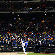 Pitcher Noah Syndergaard, New York Mets, pitching during the MLB NLCS Playoffs game two, Chicago Cubs vs New York Mets at Citi Field, Queens, New York. USA. 18th October 2015. Photo Tim Clayton