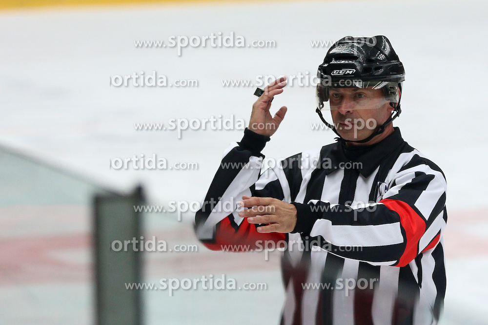 Referee Robert Jeram during ice hockey match between HDD SIJ Acroni Jesenice and HDD Telemach Olimpija, on August 29 in Dvorana Podmezaklja, Jesenice, Slovenia. Photo by Matic Klansek Velej / Sportida