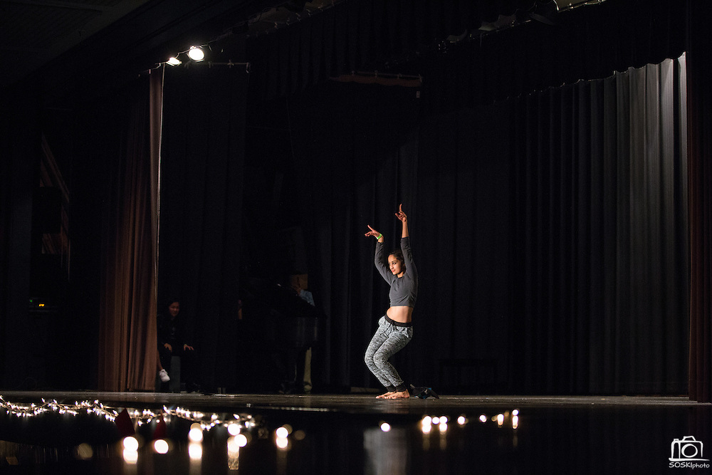 Amritha Deshpande dances during the Milpitas High School Talent Show at Milpitas High School in Milpitas, California, on February 5, 2016. (Stan Olszewski/SOSKIphoto)