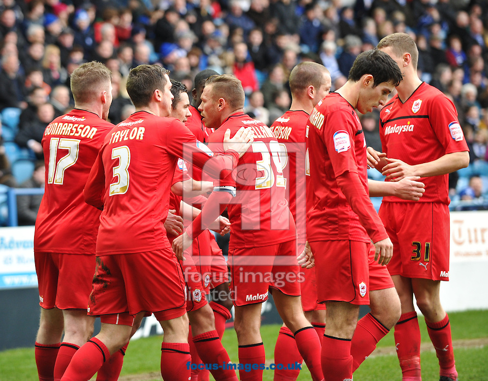 Picture by Richard Land/Focus Images Ltd +44 7713 507003.16/03/2013.Cardiff City players celebrate Don Cowie goal during the npower Championship match at Hillsborough, Sheffield.