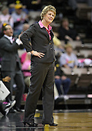 February 16 2011: Iowa head coach Lisa Bluder unhappy with a call during the first half of an NCAA women's college basketball game at Carver-Hawkeye Arena in Iowa City, Iowa on February 16, 2011. Iowa defeated Wisconsin 59-44.