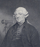Peter Dollond (1720-1820) English optician, eldest son of John Dollond.  Optical instrument designer and maker who worked with his father and nephew in London. Credited with invention of the triple achromatic lens. Dollond telescopes were used by Captain James Cook (1769) for observing the Transit of Venus, and by Lord Nelson. Engraving after the paintig hy J Hoppner, published 1820.