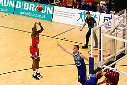 Panos Mayindombe of Bristol Flyers shoots - Photo mandatory by-line: Robbie Stephenson/JMP - 29/03/2019 - BASKETBALL - English Institute of Sport - Sheffield, England - Sheffield Sharks v Bristol Flyers - British Basketball League Championship