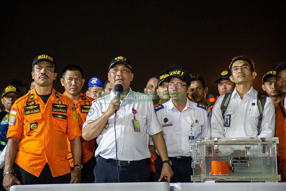 November 1, 2018 - North Jakarta, Jakarta, Indonesia - The black box Flight Data Recording (FDR) from the Lion Air Plane Crash black box was pulled out from the Karawang sea. Ministry of Transportation BUDI KARYA SUMARDI along with Indonesian Search and Rescue team and Indonesian Transportation Safety Committee held a press conference at Tanjung Priok Harbour-Jakarta.  (Credit Image: © Donal Husni/ZUMA Wire)