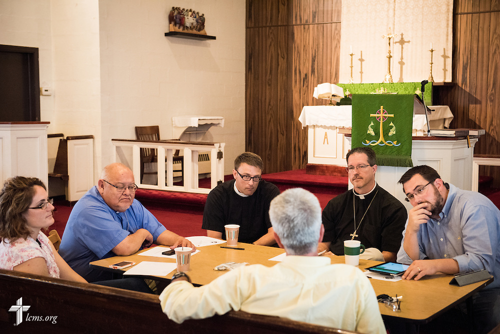 (L-R) Deaconess Melissa DeGroot, the Rev. Dr. Carlos Hernandez, director of LCMS Church and Community Engagement, the Rev. Adam DeGroot, missionary pastor at Shepherd of the City Lutheran Church, the Rev. Steven Schave, director of LCMS Urban & Inner-City Ministry, and the Rev. Robert Kieselowsky, executive director of Philadelphia Lutheran Ministries, conduct an agency interview on Wednesday, August 13, 2014, at Shepherd of the City Lutheran Church in Philadelphia, Pa. LCMS Communications/Erik M. Lunsford