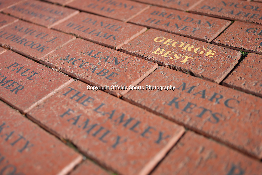 14th September 2013 - Barclays Premier League - Manchester United v Crystal Palace - A brick bearing the name of former Man Utd player George Best is seen on the 50th anniversary of his debut for the club - Photo: Simon Stacpoole / Offside.