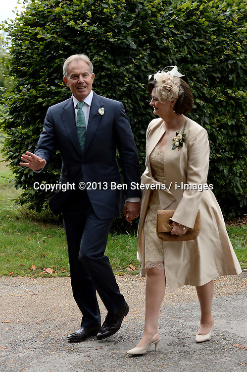 Former Prime Minister Tony Blair's Son Euan Blair Wedding to Suzanne Ashman at All Saints Church in  Wotton Underwood, United Kingdom. Saturday, 14th September 2013. Picture by Ben Stevens / i-Images<br /> <br /> Pictured are Tony and Cherie Blair arriving at All Saints Church.