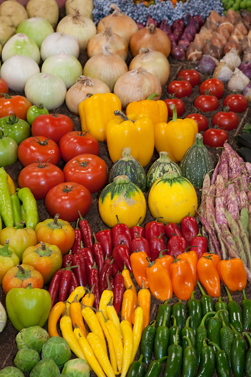 United States, Washington, Puyallup, dispaly of fruits and vegetables at annual Puyallup Fair