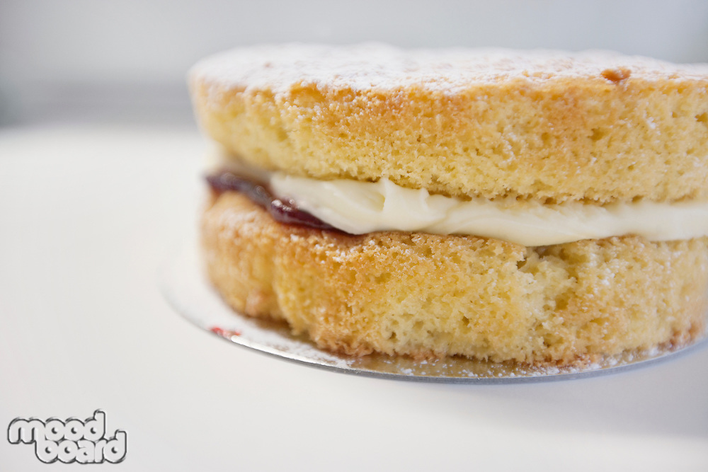 Close-up view of Victoria sponge cake