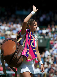 LONDON, ENGLAND - Saturday, June 30, 2012: Petra Kvitova (CZE) waves to the crowd as she celebrates winning during the Ladies' Singles 3rd Round match on day five of the Wimbledon Lawn Tennis Championships at the All England Lawn Tennis and Croquet Club. (Pic by David Rawcliffe/Propaganda)