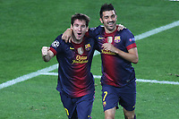 FOOTBALL - UEFA CHAMPIONS LEAGUE 2012/2013 - GROUP STAGE - GROUP G - FC BARCELONA v SPARTAK MOSCOW - 19/09/2012 - PHOTO MANUEL BLONDEAU / AOP PRESS / DPPI - LIONEL MESSI CELEBRATES WITH HIS TEAMMATE DAVID VILLA AFTER SCORING THE WINNING GOAL