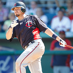 February 28, 2011; Fort Myers, FL, USA; Minnesota Twins right fielder Jason Repko (18) during a spring training exhibition game against the Boston Red Sox at City of Palms Park.  Mandatory Credit: Derick E. Hingle