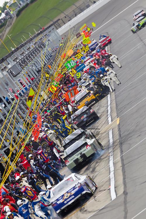 KANSAS CITY, KS - APR 22, 2012:  Mark Martin (55) races during the STP 400 at the Kansas Speedway in Kansas City, KS.