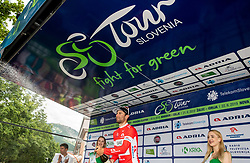 Diego Ulissi (ITA) of UAE Team Emirates celebrates in red jersey as best in sprint classification at trophy ceremony after the 4th Stage of 26th Tour of Slovenia 2019 cycling race between Nova Gorica and Ajdovscina (153,9 km), on June 22, 2019 in Slovenia. Photo by Vid Ponikvar / Sportida