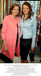 Left to right, the COUNTESS OF WOOLTON and her daughter MISS GENEVIEVE CHAPMAN at a party in London on 7th May 2003.PJJ 138